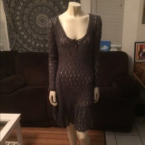 Free People Brown Sheer Sweater Dress M